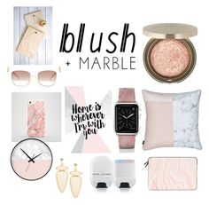 """Blush and marble"" by emilyreingardt ❤ liked on Polyvore featuring Mirenésse, Casetify, self-portrait, T+C by Theodora & Callum, DENY Designs and Marc Jacobs"