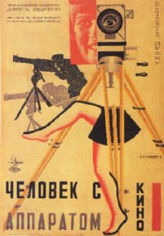 Poster for the Russian avant-garde film The Man with the Movie Camera, Directed by Dziga Vertov and edited by his wife Elizaveta Svilova. Avant Garde Film, Russian Avant Garde, Alexandre Rodtchenko, Russian Constructivism, Soviet Art, Soviet Union, Movie Camera, Design Poster, Art Graphique