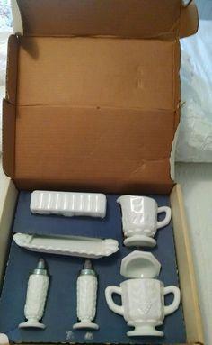 Westmoreland Paneled Grape Milk Glass Starter Set in Original Box.  7 Pc.  #Westmoreland