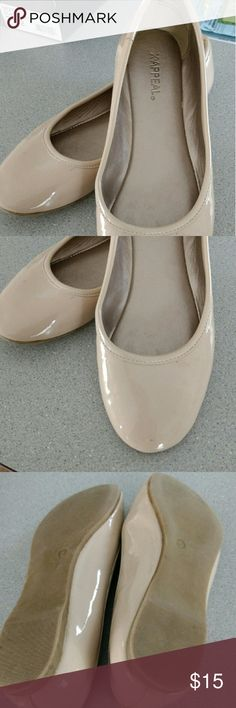 Appeal brand Ladies size 6 nude flats Patent leather in popular nude. Worn by my daughter for a short time until she outgrew them. Goes with everything! Appeal name brand. Bought from Rack Room. Appeal Shoes Flats & Loafers