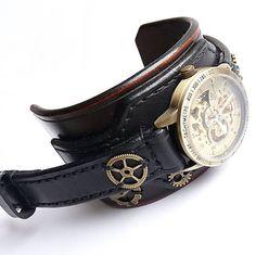 Steampunk hodinky hnedo čierne