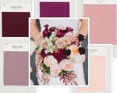 Pink, burgundy and purple wedding inspiration | David's Bridal Colors Clockwise from top: Sangria, ballet, petal, Quartz, wine