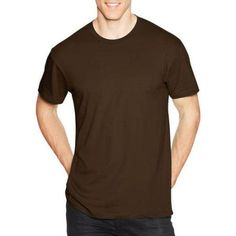 Hanes Young Men's Solid Short Sleeve Nano Tee, Size: Medium, Brown