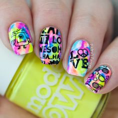 Neon Tie Dye Nail Art with Bundle Monster Musik City stamping