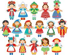 colorful paper dolls