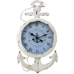 Metal and Wood Anchor Clock Reviews ❤ liked on Polyvore featuring home, home decor, clocks, anchor home decor, metal clock, wooden home decor, wood home decor and wooden clock