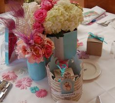 Tiffany Blue Vase with Flowers, Crown, Favors and Tiffany Box arrangement (DIY)