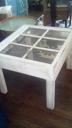 Window pane coffee table:) This would be cute on the front porch with 2 old rockers.