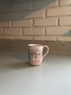 Vintage Adorable Cat Kitty and Flower Coffee by TheThriftyAnemone