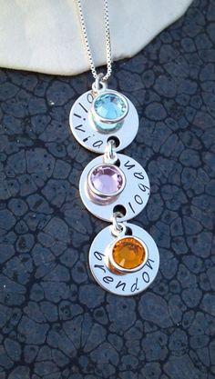 Hand stamped sterling silver birthstone by DawnsMetalDesigns, $30.00