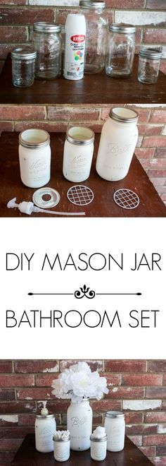 DIY Mason Jar Bathroom Set is part of Mason Jar Organization Bedroom - My counter has to be organized at all times! That's why I love these mason jar organizers! They keep my stuff nice and tidy and are so sweet looking! Mason Jar Projects, Mason Jar Crafts, Diy Projects, Mason Jar Bathroom, Bathroom Sets, Bathrooms, Bathroom Layout, Small Bathroom, Mason Jar Kitchen Decor