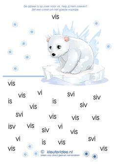 Zoek het woord vis, kleuteridee.nl, thema Noordpool en Zuidpool, free printable Artic Animals, Spelling Games, Winter Project, Winter Activities, Antarctica, Winter Theme, Alaska, Preschool, Teddy Bear