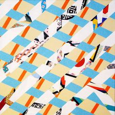 Criss-crossing blue and white lines on a tan coloured background. $575 #original