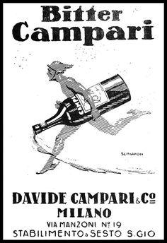 PUBBLICITA' 1921 BITTER CAMPARI DRINK SESTO S.GIOVANNI MERCURIO ERMES SCHIAVON