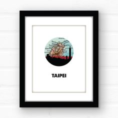 Taipei Taiwan map art  Republic of China art  by PaperFinchDesign
