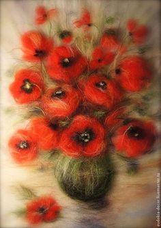 Картины цветов ручной работы. Ярмарка Мастеров - ручная работа. Купить Красные маки (картины из шерсти). Handmade. Маки
