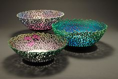 The wood is Box Elder with dimensions around 14 inches in diameter.  Acrylic was used in air brushing these laced bowls, with one bowl showing image of  dragon flies.      I work out of my workshop studio in Milford, Ohio.  Hope you enjoy these creations.  By Joe LeGrand