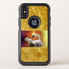 White Swan in a lake with a orange gold sunset OtterBox Commuter iPhone X Case - #chic gifts diy elegant gift ideas personalize