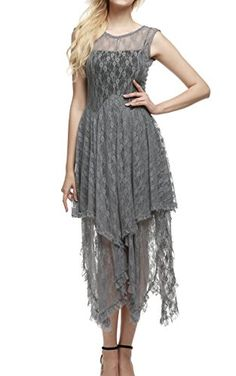 26fae9aca1942 Amazon.com  ACEVOG Women s Sexy Sleeveless Floral Lace Tiered Long  Irregular Party Dress (XXL
