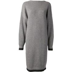 Maison Margiela knit sweater dress ($955) ❤ liked on Polyvore featuring dresses, grey, loose sweater dress, grey knit dress, grey long sleeve dress, grey dress and gray dress