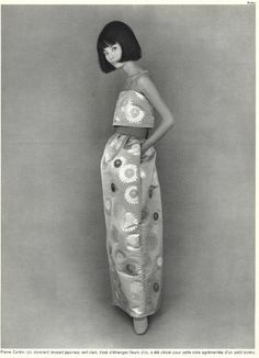 Pierre Cardin 1965 Fashion Photography Evening Gown Model Japanese