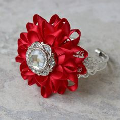 Red Bracelet Red Corsage Red Flower Corsage by PetalPerceptions