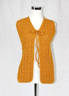 Vintage Crochet Vest M Medium L Large Mustard by filthyrebena