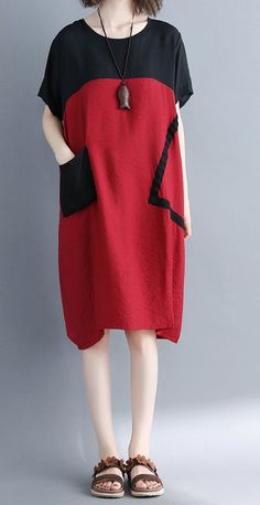 Women loose fit large size dress pocket tunic short sleeve summer casual chic #unbranded #dress