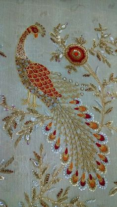 Best Cost-Free peacock Embroidery Designs Suggestions Embroidery is actually a wonderful approach to light up your home as well as an excellent leisure activity in Zardosi Embroidery, Hand Embroidery Dress, Tambour Embroidery, Couture Embroidery, Ribbon Embroidery, Peacock Embroidery Designs, Bead Embroidery Patterns, Embroidery Works, Embroidery Stitches