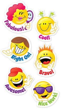 Students love earning stickers for good behavior, scholastic excellence and more! Stickers are a teacher must-have! Each pack includes 60 acid-free stickers per pack. Bundle includes 10 packs for a total of 600 stickers. Reward Stickers, Teacher Stickers, Face Stickers, Craft Stickers, Funny Emoji Faces, Smiley Faces, Ideas Paneles, Kids Awards, Creative Teaching Press