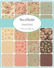 "ROSES & CHOCOLATE by Moda 5"" CHARM PACK out of print cotton floral quilt fabric"
