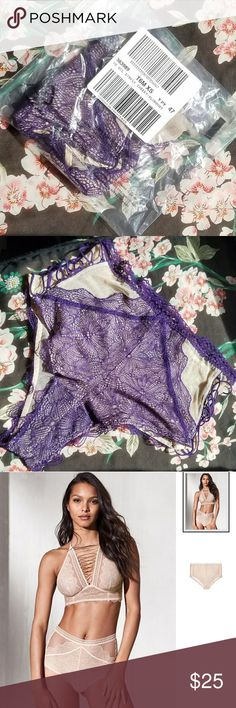 Plumdust Purple Lace Cheeky Panty Brand new, Victoria's Secret underwear. Lace up side detail, with purple lace and nude mesh. XS runs big- fits a small Victoria's Secret Intimates & Sleepwear Panties