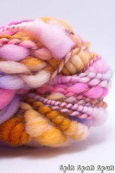 Sorbet CoilSpun BeeHive Art Yarn BFL silk and by SpinSpanSpun,