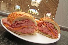 Sanduiche Brazuca, Brazilian sandwich, made with french bread, cheese and tons of bologna. A traditional snack at the Mercado Municipal de São Paulo.