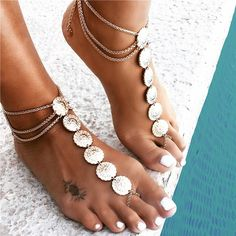 Modish Argent Bohème Gitan Pièce Cheville Bracelet Pied Collier Femme Bijou FE