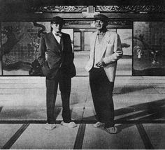 John Wayne (R) with John Huston between takes of The Barbarian and The Geisha, 1958