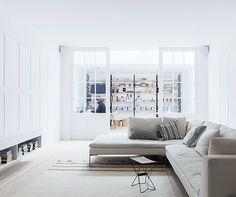 Monochromatic, white-toned colour palette for the living room area. #interdema #design #livingroom #lifestyle