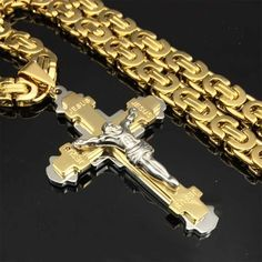 CaliRoseJewelry White Gold Jesus on The Cross Crucifix Textured Pendant