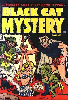 I was scanning comic book covers for a friend when I came across this old Harvey title, Black Cat Mystery Comics The art is by Al Av. Vintage Comic Books, Vintage Comics, Comic Books Art, Comic Art, Book Art, Ec Comics, Horror Comics, Comic Book Plus, Comic Book Covers