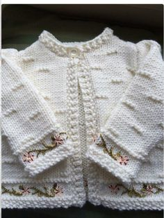 "Pattern description from Vogue Knitting, Spring/Summer ""'I designed this sweater nine years ago, when I was expecting my second baby, my first and only gi Crochet Jacket Pattern, Crochet Baby Jacket, Knit Jacket, Crochet Cardigan, Lace Scarf, Crochet Lace, Baby Knitting Patterns, Knitting For Kids, Baby Patterns"