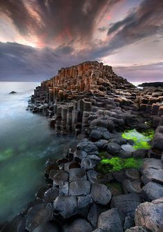 The giants causeway is an area of about 40,000 interlocking basalt columns, the result of an ancient volcanic eruption. It is located in County Antrim on the northeast coast of Northern Ireland.