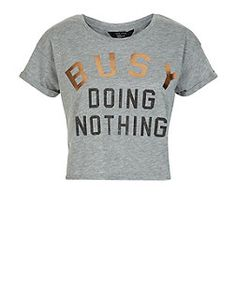 "Crop top Ado gris ""Busy Doing Nothing"" 