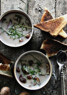 Cream of Mushroom Soup - Sandra's Easy Cooking Soup Recipes Soup Recipes, Vegetarian Recipes, Healthy Recipes, Creamed Mushrooms, Stuffed Mushrooms, Easy Cooking, Cooking Recipes, Food Porn, Tasty