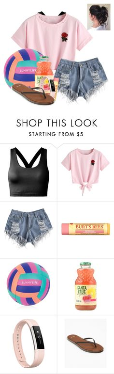 """""""Beach Days"""" by miamaries ❤ liked on Polyvore featuring WithChic, Burt's Bees, Sunnylife, Fitbit, sanuk and polyvorepresents"""