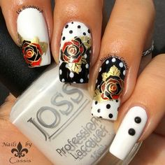 Nails by Cassis: Dots & Roses Stamping Mani