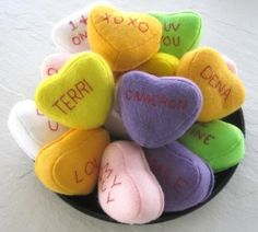 3 Cute and Creative Valentine's Day DIY Ideas including Felt Conversation Hearts. Cute idea!