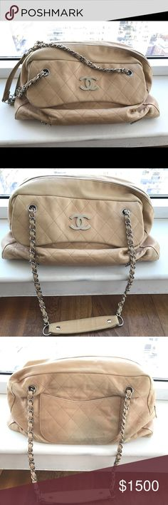 Nude Lambskin Chanel Handbag Beautiful nude Lambskin authentic Chanel handbag with classic chain link shoulder straps, back slit pocket and from CC pocket. Silver silk interior with zipper pocket. Spacious stunning back with light discoloration on back. Great deal! CHANEL Bags Shoulder Bags