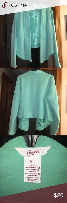 Candie's turquoise/mint blazer Turquoise blazer with collar full length. Longer in the front. Polyester/spandex. Never worn. Great for business casual! Candie's Jackets & Coats Blazers