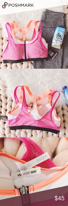 "ᴠsx ""ᴋɴᴏᴄᴋᴏᴜᴛ ᴡɪʀᴇʟᴇss"" sᴘᴏʀᴛs ʙʀᴀ NWT sports bra from Victoria's Secret Sport. Maximum support, locking zip front closure, breathable padding with wicking liner to keep keep you dry, and adjustable straps. Pink mesh with orange straps  ‣86% ᴘᴏʟʏᴀᴍɪᴅᴇ, 14% ᴇʟᴀsᴛᴀɴᴇ  ‣36ᴅ  ✨Pet friendly home ✨Please ask questions before purchase ✨Reasonable offers welcomed ✨Bundle to save more Victoria's Secret Intimates & Sleepwear Bras"