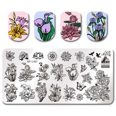 BORN PRETTY Template Stamping Plate Flower Rectangle Manicure Nail Art Image Plate >>> Click image for more details. (This is an affiliate link) Manicure Diy, Manicure Images, Nail Art Images, Diy Nails, Nail Art Designs, Flower Nail Designs, Nail Patterns, Flower Patterns, Pattern Nails